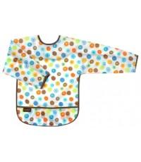 Kushies : KUSB275-41* ผ้ากันเปื้อน Waterproof Bib with Sleeves, White Circle, Toddler