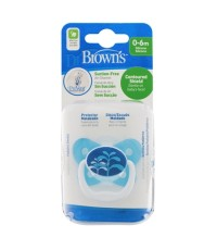 Dr.Brown\'s : DRB PV11404-SPX จุกหลอก PreVent BUTTERFLY SHIELD Pacifier, Stage 1 * 0-6M - Blue, 1pk.