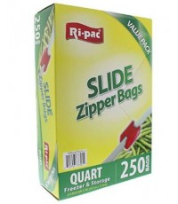 Ri Pac : RIP37325* ถุงซิปสูญญากาศ Quart Slide Zipper Sandwich and Snack Bags - 250 Count