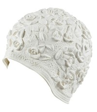 Beemo : BMOWHE* หมวกว่ายน้ำ Women's Swim Bathing Cap Turban White