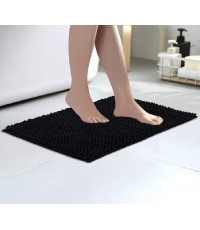 Colorxy : CLXBM-BLK* พรมเช็ดเท้า Luxury Chenille Bathroom Bath Mat Black 16 X 24 inch