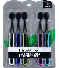 FineVine : FNV08307* แปรงสีฟัน Charcoal Toothbrush 5pcs.