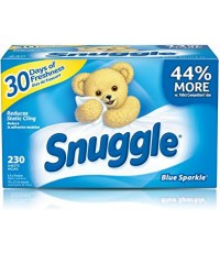 Snuggle : SGLBSP-230* แผ่นหอมปรับผ้านุ่ม Fabric Softener Dryer Sheets Blue Sparkle 230 Count