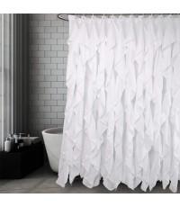 Volens : VOLSCL-WHE* ม่านอาบน้ำ Ruffle Shower Curtain White 72x72 inch
