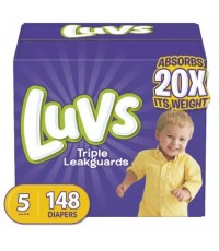 Luvs : LUVS5-148* ผ้าอ้อมสำเร็จรูป Ultra Leakguards Disposable Baby Diapers Size 5, 148 Count