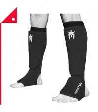 Meister : MST BLK-XL* สนับแข้ง MMA Elastic Cloth Shin  Instep Padded Guards XL, Black