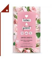Love Home and Planet : LVHRNM-80* แผ่นอบผ้า Dryer Sheets Rose Petal & Murumuru, 80 Count, 2-pk.