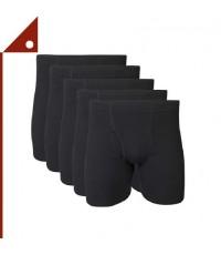 Fruit of the Loom : FOLMCWBS* กางเกงบ๊อกเซอร์ Gildan Men's Covered Waistband Boxer Black, 5-pk