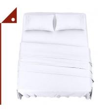 Utopia : UTPUB0253* ชุดผ้าปูที่นอน Bedding Bed Sheet Set - 4 Piece Full Size, White