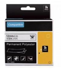 Freshworld : FHW18483* สติ๊กเกอร์พิมพ์ฉลาก Permanent Polyester Labels Tape 1pk. (1/2 Inch. Black on