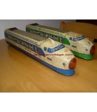 รถไฟสังกะสีx2 ของเล่นโบราณ งานญี่ปุ่นแท้ ระบบลาน