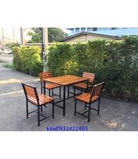 โต๊ะเก้าอี้โรงอาหารไม้ระแนงขาเหล็ก kkw2-32