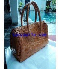 crocodile leather medium Carry-all bag in biscuit color
