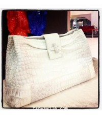 crocodile leather clutch with twist lock with draping (pre-order)