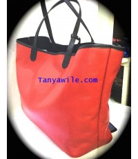 Large Shopping Tote in red safiano leathet