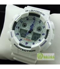 นาฬิกา CASIO G-shock GA-100A-7ADR White 2 ระบบใหม่