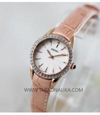 นาฬิกา SEIKO modern lady crystal ควอทซ์ SRZ388P1 สายหนัง pinkgold