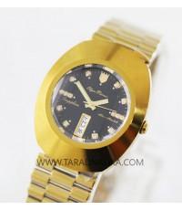 นาฬิกา Olym pianus gent sapphire 8217-406E เรือนทอง พลอย 14 เม็ด black dial