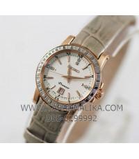 นาฬิกา SEIKO Premier diamond lady ควอทซ์ SXDG60P1 เรือนทอง pinkgold สายหนัง