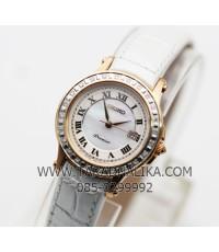 นาฬิกา SEIKO premier diamond pinkgold lady SXDF08P1 สายหนัง