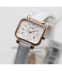 นาฬิกา ALBA modern ladies crystal AH7K06X1 สายหนังขาว