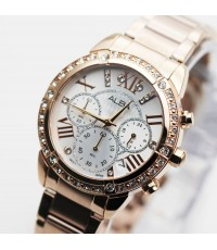 นาฬิกา ALBA modern ladies crystal AT3B84X1 เรือนทอง pinkgold