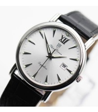 นาฬิกา Olympia Pianus sapphire quartz 130-07M-405E สายหนัง หน้าขาว