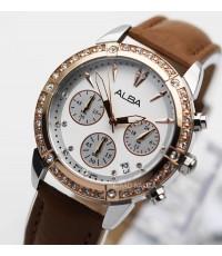 นาฬิกา ALBA modern ladies crystal AT3762X1 สองกษัตริย์ pinkgold สายหนัง