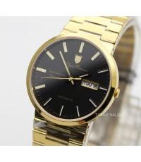 นาฬิกา Olym pianus sportmaster automatic sapphire 8909AM-434 เรือนทอง หน้าดำ