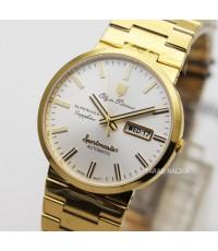 นาฬิกา Olym pianus sportmaster automatic sapphire 8909AM-434 เรือนทอง หน้าปัดขาว