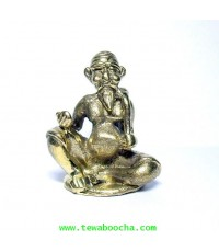 แบบ 9:ชูชกมหาลาภ เทพเจ้าแห่งการขอ ท่านั่ง เนื้อทองเหลือง ฐาน 2.5 ซม.สูง 3.5 ซม.