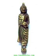 พระจำวันพุธ(กลางวัน) พระปางอุ้มบาตร ห่มจีวร:เนื้อทองเหลืองปัดดำยืนแท่นสี่เหลี่ยมสูง5ซม.ฐาน 1ซม.