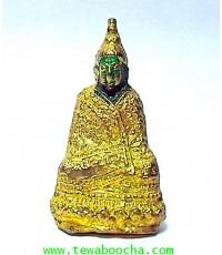 พระแก้วมรกตทรงเครื่องฤดูหนาว เนื้อทองเหลืองชุบทอง ลงสี สูง 3 ซม. ฐาน 1.7 ซม.