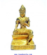 พระวิษณุกรรม เทพแห่งศิลปะการช่าง ถือดอกบัว เนื้อทองเหลืองชุบทอง ขนาดสูง 3.5 ซม.ฐาน 2 ซม.