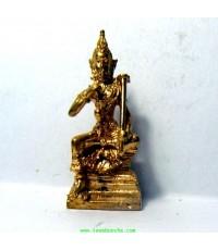 พระวิษณุกรรม เทพแห่งศิลปะการช่าง เนื้อทองเหลืองชุบทอง ฐาน 2 ซม.สูง 4 ซม.เหมาะทำกรอบห้อยคอ