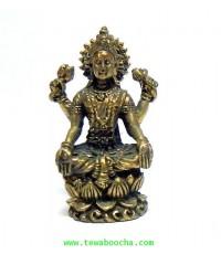 พระแม่ลักษมีนั่งบัวเนื้อทองเหลืองวางมือประทับเข่า ประทานความสำเร็จและเีรียกทรัพย์สินสูง 3 ซม.ฐาน1.5