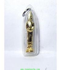 พระประจำวันพุธ(กลางวัน)ปางอุ้มบาตร ทองเหลืองชุบทองกรอบพลาสติกกันน้ำพร้อมใช้สูง 3.5ซม กว้าง 1 ซม.