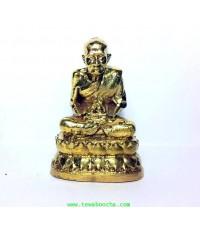 รูปหล่อหลวงปู่ทวดนั่งสมาธิขนาดตั้งหิ้งเล็กถือดวงแก้วนั่งอาสนะบัว:เนื้อทองเหลืองสูง6.5ซม.ฐาน4ซม.