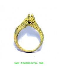 แหวนพญานาคเศียรคู่บิดข้าง คุ้มภัยทางน้ำเรียกโชคเรียกลาภสมหวังเรื่องคู่เนื้อทองเหลืองฟรีไซด์