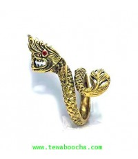 แหวนนาคราชตาฝังพลอยแดงขดเกลียว:เนื้อทองเหลืองขยายหรือลดขนาดได้ปรับความกว้างของแหวนได้ (ฟรีไซด์)