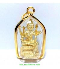 พระพรหมลิขิตชีวิตให้ดีขึ้นประทานพรให้สมหวังดังปรารถนาชุบทองกรอบทองผ่าหลายเรียบสูง3.5ซม.ฐาน2ซม.