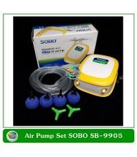 SOBO ปั้มลม SB-9905 ปั๊มออกซิเจน 2 ทาง เสียงเงียบ แรงดี 4.2W สายยาง, หัวทราย พร้อมใช้งาน