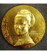 เหรียญที่ระลึกราชินี FAO รางวัล Ceres เนื้อทองคำ หนัก 13 กรัม ผลิตประเทศอิตาลี สภาพสวยเดิมๆ หายากมาก