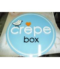 ป้ายวงกลม พลาสวูด ตัวอักษรนูน Crepe box