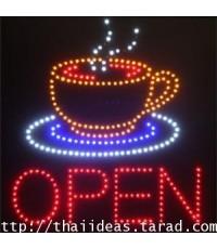 ป้ายไฟ coffee open