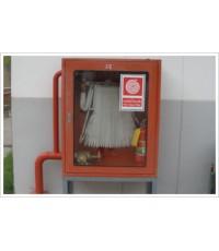 ตู้เก็บสายส่งน้ำดับเพลิงแบบแล๊คชนิดมีขาตั้งสูง 25 cm. พร้อมอุปกรณ์ขนาด 80x30x100 cm.