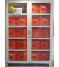 ตู้เก็บ ชุด SCBA ขนาด 200x120x50 cm. ขาสูง 10 cm. เหล็กเบอร์ 16 กระจกนิรภัย