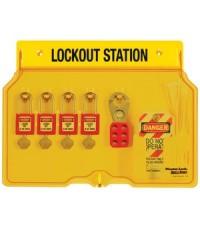 อุปกรณ์ล็อค 4 Pad Lockout Station รุ่น 1482BP410 ยี่ห้อ Masterlock-มาสเตอร์ล็อค