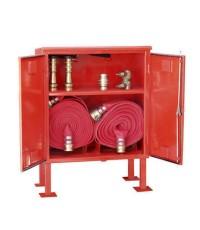ตู้เก็บสายส่งน้ำดับเพลิงสองม้วน พร้อมชั้นวางของ แบบสองชั้น 150x(70+30)x30 cm.