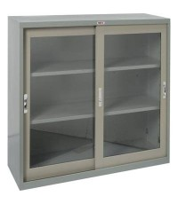 ตู้บานเลื่อนกระจก 3 ฟุต สีเทาสลับ รุ่น SD023GX